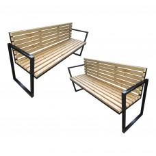 Set 2 banci structura metal, gradina-terasa, 3 persoane, 170 x 80 x 50 cm