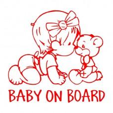 Sticker baby on board - ursulet, rosu