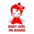 Sticker luneta, autoadeziv, Baby Girl on Board