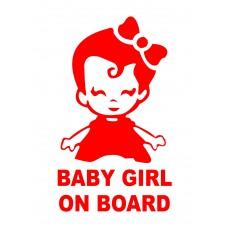 Sticker luneta, autoadeziv, Baby Girl on Board